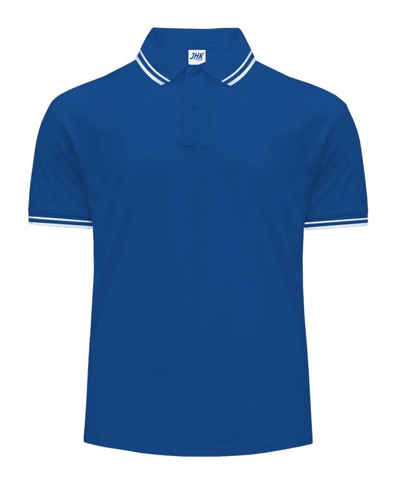 Polo męskie JHK PORA 210 CONTRAST ROYAL BLUE/WHITE