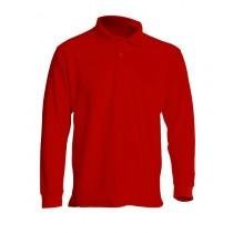 Polo męskie z długim rękawem JHK PORA 210 LS RED
