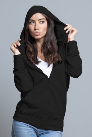 Bluza damska z kapturem, zapinana SWUL HOOD - BLACK