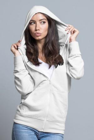 Bluza damska z kapturem, zapinana SWUL HOOD - WHITE